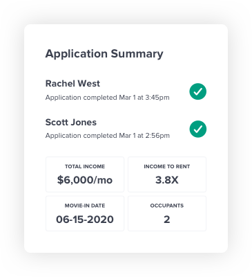 Renter application summary screenshot. Showing applicant names, and dates submitted. Total income, income to rent, move in date, and number of occupants.