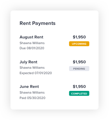 Rent Payments screenshot. Showing rental payments upcoming, pending, and completed